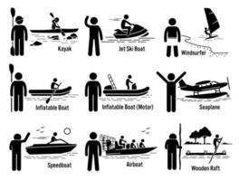 água, mar, veículos recreativos e pessoas definidas. vetor
