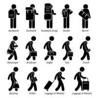 tipo de homem bolsas masculinas e ícones de pictograma de figura de vara de bagagem.