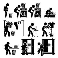 pictograma de lavanderias lavando roupas vetor