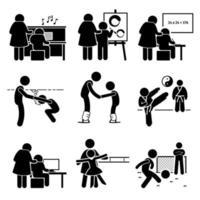 aluno aprendendo música, arte, aulas acadêmicas, natação, artes marciais, futebol, computador, dança e patinação no gelo com o pictograma do mentor.
