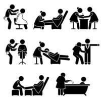 salão de beleza maquiador serviços de spa trabalho stick figura pictograma ícones. vetor