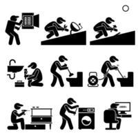 técnico faz-tudo eletricista encanador roofer serviços. vetor
