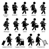 tipo de mulher feminina bolsa bolsa carteira e bagagem stick figura ícones de pictograma.