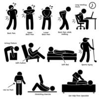 pictograma de dor nas costas. vetor