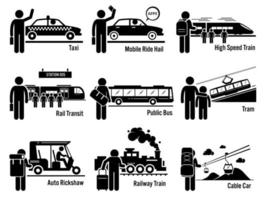 veículos de transporte público terrestre e conjunto de pessoas.