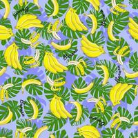 padrão sem emenda com monstera e bananas. backround brilhante. projetado para design de tecido, impressão têxtil, embalagem, capa. vetor