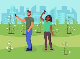 um casal apaixonado tira uma selfie no parque
