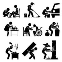 trabalhos avulsos - engraxate, zelador, lava-carros, babá, cuidado de idosos, coletor de lixo, açougueiro, trabalho duro e seringueiro vetor