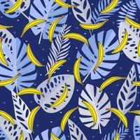 padrão sem emenda com folhas azuis, bananas e coração. mão desenhada, vetor, cores brilhantes. plano de fundo para estampas, tecido, papéis de parede, papel de embrulho.