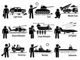 conjunto de transporte de soldado do exército de veículos militares. vetor