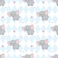 mão desenho doce elefante padrão ilustração vetorial. imprimir para crianças. vetor