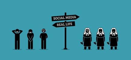 a diferença entre os comportamentos humanos na vida real e nos meios de comunicação sociais.