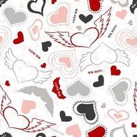 coleção doodle coração. coleção de adesivos românticos. amo esboços simples do tema para web design ou produtos impressos.