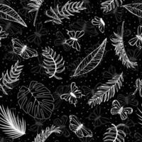 palmeiras tropicais, folhas de bananeira e borboleta em fundo preto. tecido de impressão, papel e teia. vetor