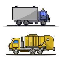 caminhão de lixo e caminhão de bombeiros ilustrados em fundo branco vetor
