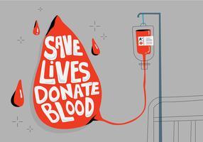 Salvar vidas com doar cartaz de tipografia de sangue para ilustração vetorial de unidade de sangue vetor