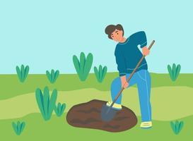 um fazendeiro cava a terra