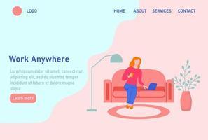página inicial do site de trabalho remoto ou modelo da página de destino