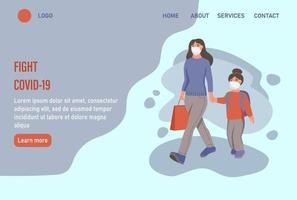 Lute contra a página inicial do website covid-19 ou modelo de página de destino