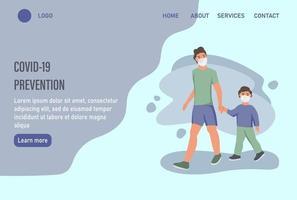 página inicial do site de prevenção covid-19 ou modelo de página de destino