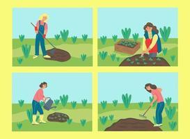 um conjunto de mulheres jardinando