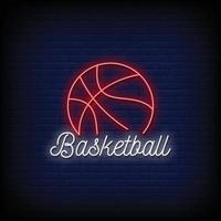 logotipo de basquete sinais de néon estilo texto vetor