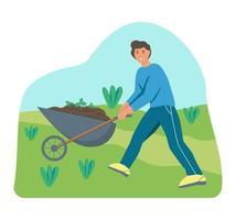 fazendeiro empurrando um carrinho de mão com terra vetor