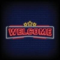 bem-vindo vetor de texto de estilo de sinais de néon