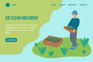 modelo de página da web de destino de jardinagem orgânica vetor