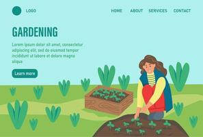 modelo de página da web de destino de jardinagem