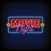 vetor de texto de estilo de sinais de néon de noite de cinema