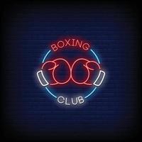 vetor de texto de estilo de sinais de néon do clube de boxe