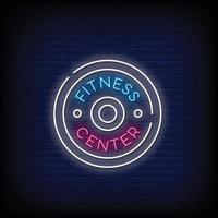 vetor de texto de estilo de sinais de néon de centro de fitness