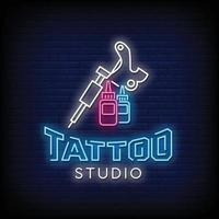 Vetor de texto de estilo de sinais de néon de estúdio de tatuagem