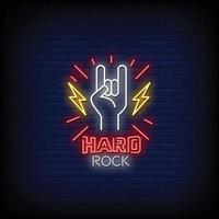 Vetor de texto de estilo de sinais de néon hard rock