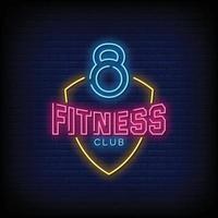 vetor de texto de estilo de sinais de néon do clube de fitness