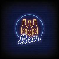 Vetor de texto de estilo de sinais de néon de cerveja
