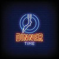 Horário do jantar sinais de néon estilo texto vetor