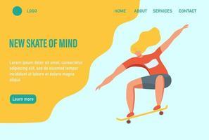uma jovem ou adolescente anda de skate. faça mais o que te faz feliz. modelo de página da web de destino da página inicial do site. ilustração vetorial plana.