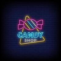 Vetor de texto de estilo de sinais de néon de loja de doces