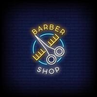 barbearia sinais de néon vetor de texto de estilo