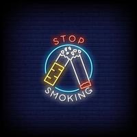 pare de fumar sinais de néon estilo texto vetor