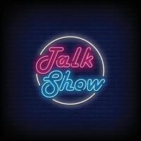 vetor de texto estilo talk show sinais de néon