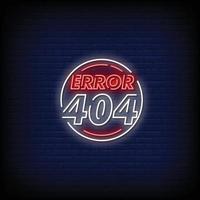 vetor de texto de estilo de sinais de néon erro 404