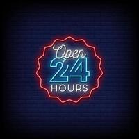 aberto 24 horas em vetor de texto de estilo de sinais de neon