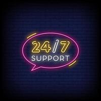 24-7 suporte vetor de texto de estilo de sinais de néon