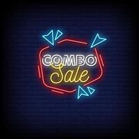 combo venda sinais de néon estilo texto vetor