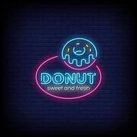vetor de texto de estilo de sinais de néon donut