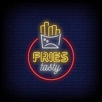 fritas saborosas sinais de néon estilo vetor de texto