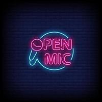 vetor de texto de estilo de sinais de néon de microfone aberto